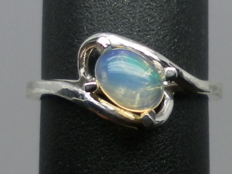 Vintage Ethiopian Opal  Sterling  Silver Ring; FREE SIZING.