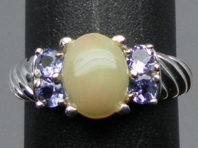 Vintage 14kt Ethiopian Opal & Tanzanite Ring; FREE SIZING.