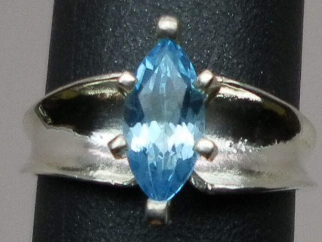 Natural  Blue Topaz Silver Ring; ANY SIZE 3-13