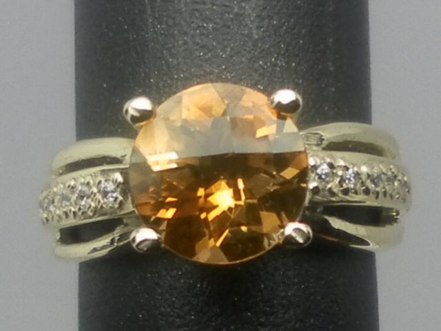 Vintage 14kt Natural Citrine & Diamonds Ring; FREE RE-SIZED.
