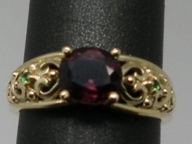 Vintage 14kt Spinel & Emerald  Ring