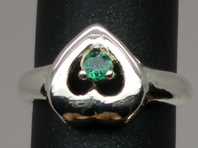 NATURAL  Emerald Silver Ring,available in all sizes 3 to 13.