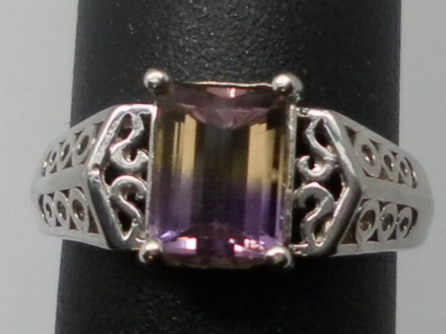 Vintage Natural Ametrine Sterling Silver Ring; FREE SIZING