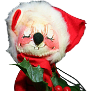 Annalee Stuffed Christmas Mouse Decoration 1971