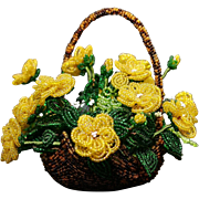 Beaded Flowers in Beaded Handled Basket and How To Book