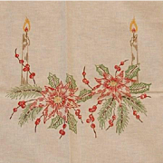Christmas Rectangle Table Cover or Cloth with Candle, Holly And Poinsettia