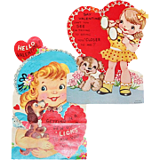 Two Large Valentines With Puppies, One Mechanical - Red Tag Sale Item