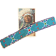 NATIVE AMERICAN BEADED WAR BONNET BAND AND POSTCARD