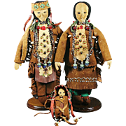 Native American Indian Lakota, Winnebago Family of Dolls