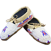 Vintage Native American Youth Beaded American Flag and Eagle Moccasins
