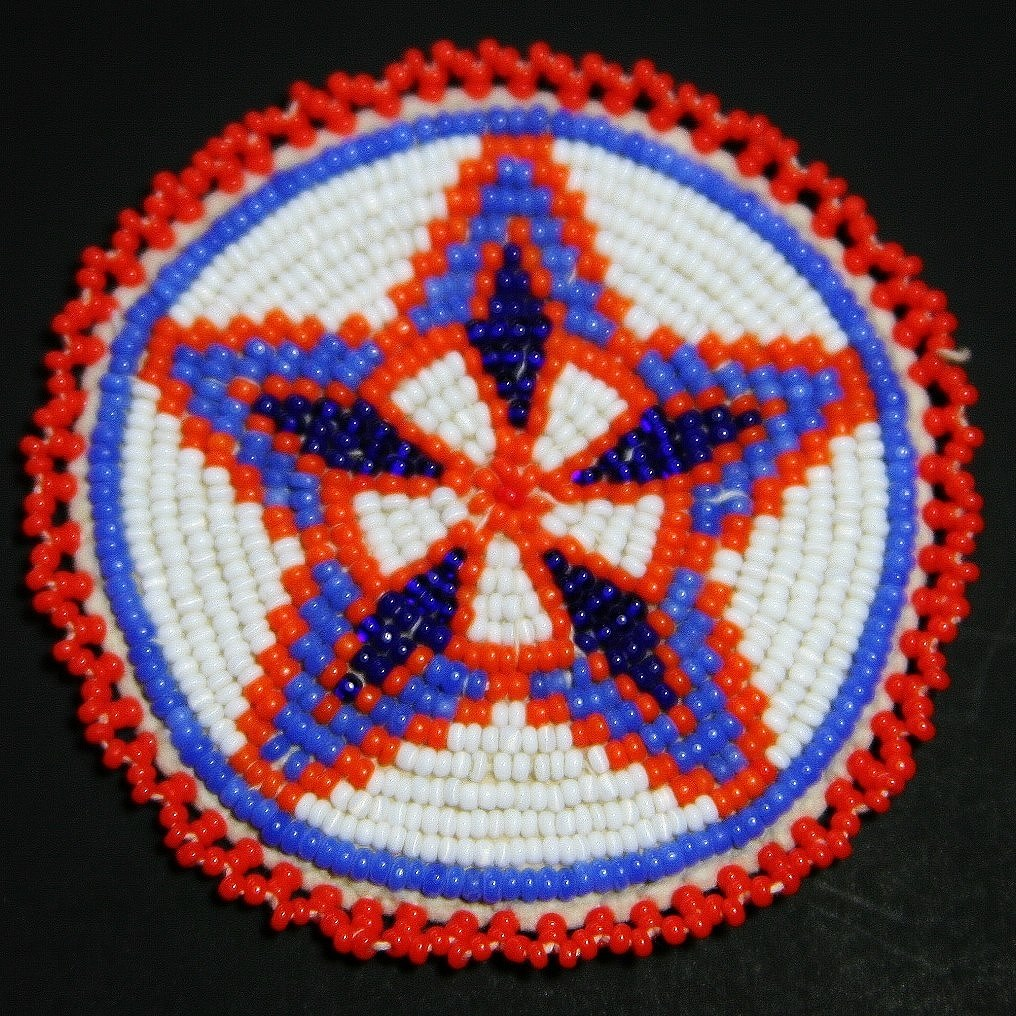 Native American Indian Hand Beaded Matching Rosettes Sold