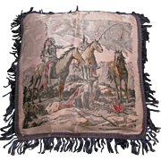 Native American Indian Scene On South Dakota Satin Pillow Cover