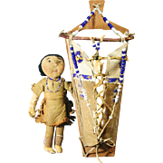 Native American Indian Beaded Yakima Plateau Toy Doll & Cradle