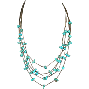 Native American Turquoise Nugget and Liquid Silver Necklace