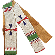 Native American Warriors Beaded Blanket Strip