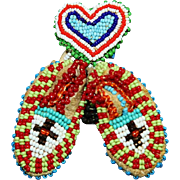 NATIVE AMERICAN BEADED HEART AND DOLL MOCCASINS PIN