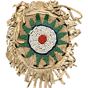 Native American Indian Beaded Round Leather Pouch Style Bag