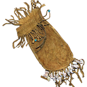 Native American Leather Fringed Pouch