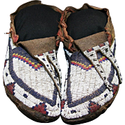 Native American Indian Canadian Sioux Man's Moccasins