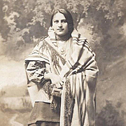 Native American Real Photograph Postcard of Osage Woman in Blanket