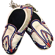 Antique Native American Osage Man's Beaded and Fringed Moccasins