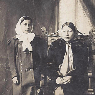 Native American Real Photograph Postcard of Two Osage Sisters