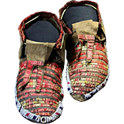Native American Indian Sioux or Cheyenne Quill Moccasins
