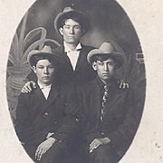 Native American Real Photo Postcard of 3 Men
