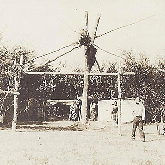RPPC Native American Indian Sundance or Dance Arbor