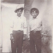 Native American Real Photograph Post Card of Two Men with Pistol