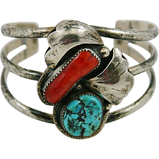 Native American Indian Navajo Turquoise and Coral Bracelet