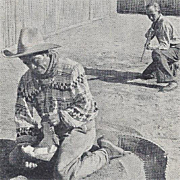 Native American Seminole Alligator Wrestling Florida Postcard
