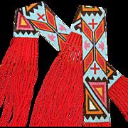 Native American Osage Man's Pair of Loomed Beaded Garters