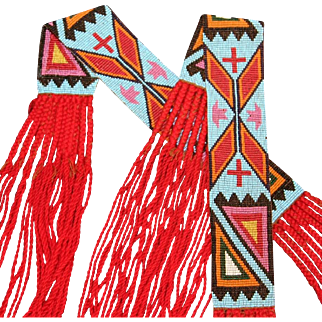 Native American Osage Man's Pair of Loomed Beaded Garters