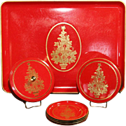 OTAGIRI LACQUER WARE DRINK OR COCKTAIL CHRISTMAS SERVING TRAY AND ACCESSORIES