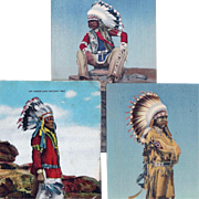 Group of 3 Native American Men with Feather Bonnets Post Cards