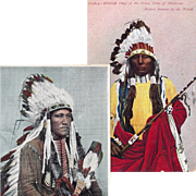 Kiowa and Ponca Native American Indian Warrior Post Cards