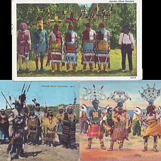 Native American Apache Gan or Mountain Spirit Dancers Post Cards