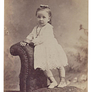 PHOTOGRAPH PORTRAIT CARD GIRL IN EYELET DRESS