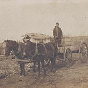 PHOTOGRAPH WAGON, HORSES, MAN, BARRELS