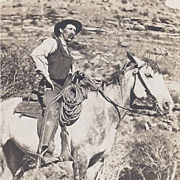 Real Photo Postcard of Cowboy and his Horse