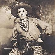 RPPC Cowboy Woolie Chaps and Colt Pistol