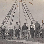 Native American Real Photo Postcard by Dillon of Osage Men and Tipi