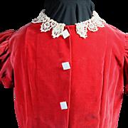 Vintage Large Doll or Toddler 1950's Red Velvet Dress