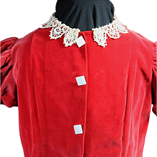 Vintage Large Doll or Toddler 1950's Red Velvet Dress