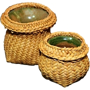 NATIVE SOUTH AMERICAN MINIATURE BASKETS WITH POTTERY