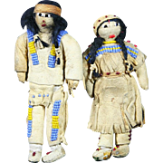 Native American Indian Small or Miniature Pair Plains Dolls