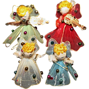 4 JAPAN TULLE HANGING ANGEL CHRISTMAS DECORATIONS