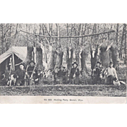 Photograph Postcard of Wyoming Hunting Group With Dogs