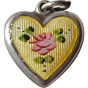 RARE LaMode Authentic 1940's WWII Sterling Yellow Guilloche Enameled Handpainted Rose Heart Charm